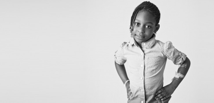 Young Cancer Survivor at Montefiore Hospital in the Bronx, Evangelyne, 5.  Photograph by Michael Weschler.